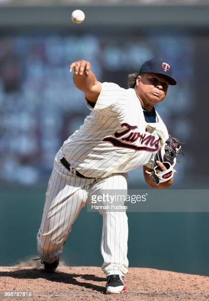 Position player Willians Astudillo of the Minnesota Twins delivers a pitch against the Tampa Bay Rays during the ninth inning of the game on July 14...