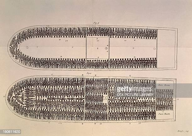 Positioning of slaves on a slave ship illustration from Abolition of the slavetrade London Slavery England 18th century
