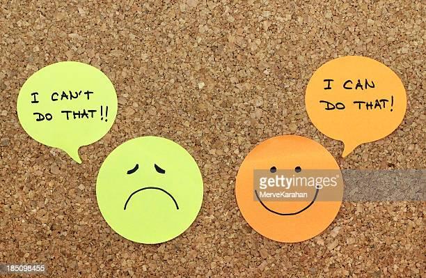 Positive and negative attitude concept