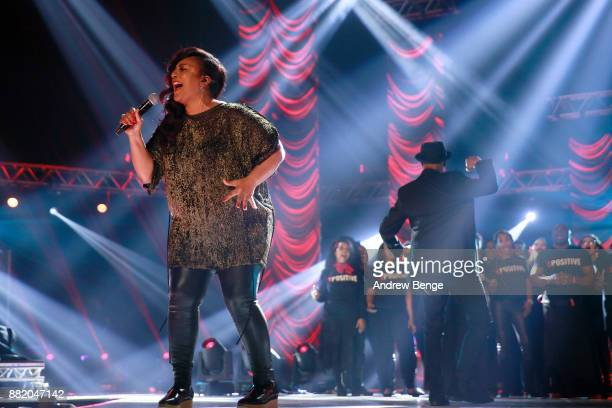 Positive Choir performs on stage at the MOBO Awards at First Direct Arena Leeds on November 29 2017 in Leeds England