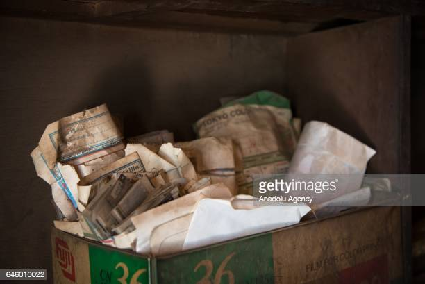 Positive films developed in the past are seen in a box at Daouda Coulibaly's photo studio, which was founded in 1981, at Mamadou Konate Avenue in the...
