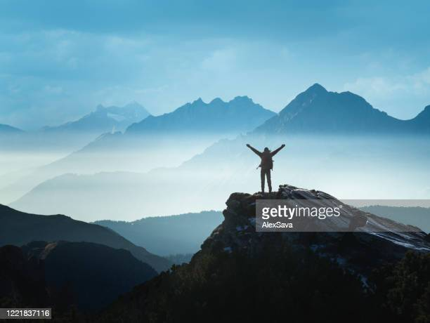 positive man celebrating success - summit stock pictures, royalty-free photos & images