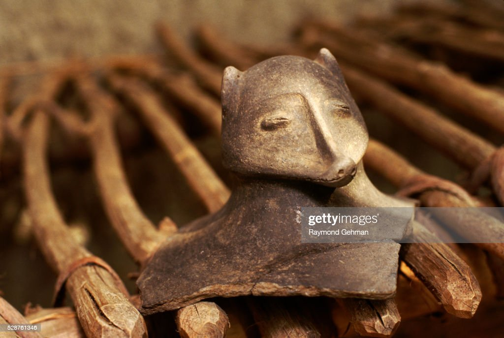 Possums Head From A Mississippian Hooded Effigy Bottle Stock Photo