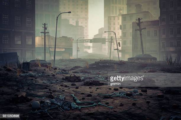 post apocalypse destroyed city street - death photos stock photos and pictures