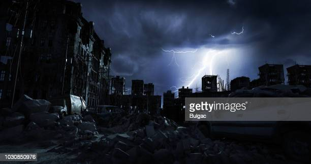 post apocalypse urban landscape (night) - decline stock pictures, royalty-free photos & images