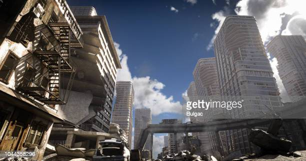 post apocalypse urban landscape (day) - nuclear fallout stock pictures, royalty-free photos & images