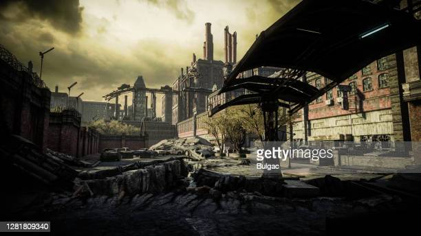 post apocalyptic industrial scenery - war stock pictures, royalty-free photos & images