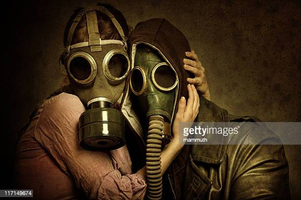 post apocalyptic love - gas mask stock pictures, royalty-free photos & images