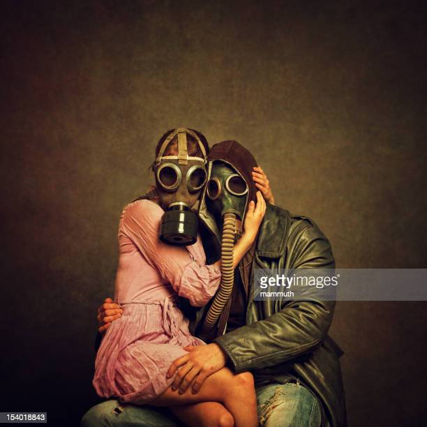 post apocalyptic love - freaky couples stock photos and pictures