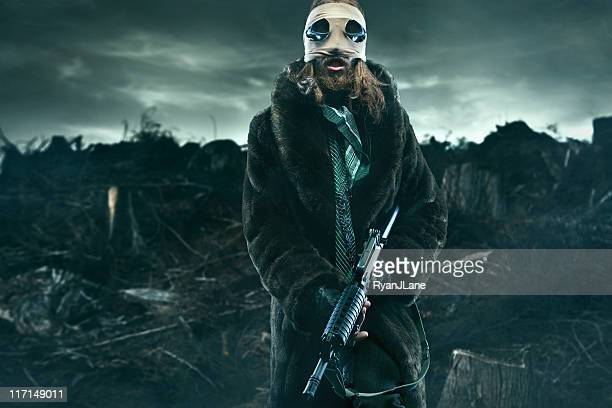 Post Apocalyptic Man in Wasteland with Weapon
