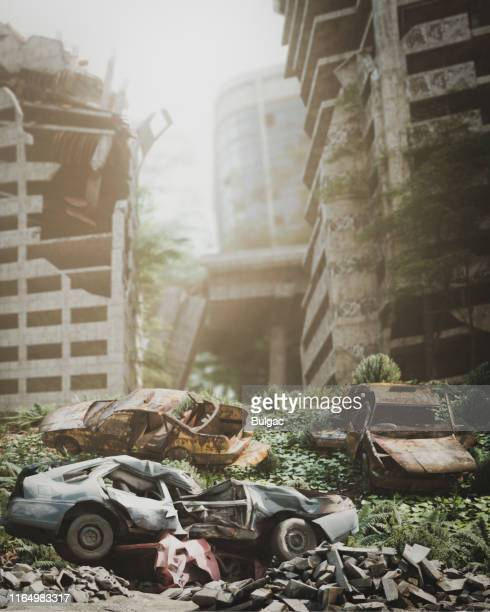 post apocalyptic urban landscape - nuclear fallout stock pictures, royalty-free photos & images