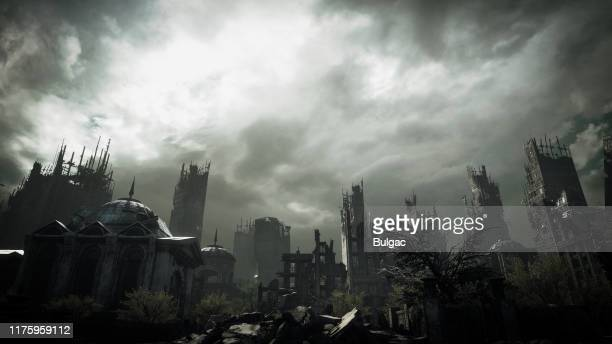 post apocalyptic urban landscape - old ruin stock pictures, royalty-free photos & images