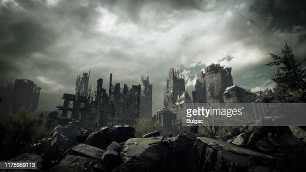 post apocalyptic urban landscape - war stock pictures, royalty-free photos & images