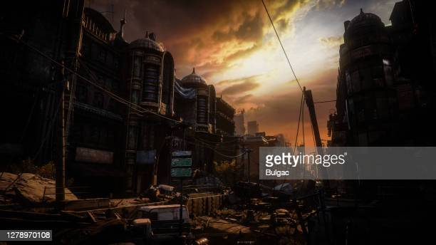 post apocalyptic urban landscape (dusk/dawn) - nuclear fallout stock pictures, royalty-free photos & images