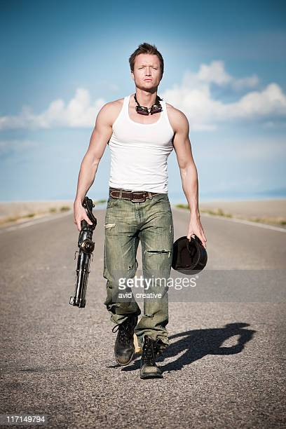 post apocalyptic warrior - apocalypse stock pictures, royalty-free photos & images