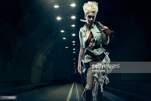 Post Apocalyptic Woman in Dark Tunnel