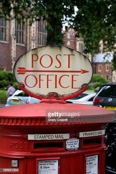 Post box and post office sign