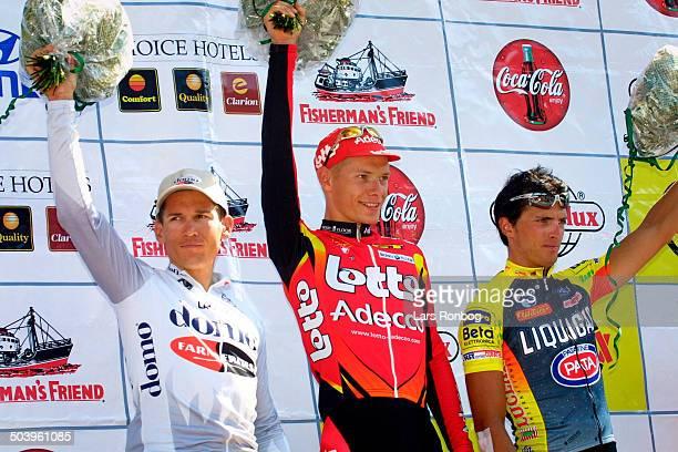 Post Danmark Rundt 4 etape De tre foerste paa etapen Gorik Gardeyn Lotto tv Robbie McEwen Domo Farm Frites og dagens treer Marco Zanotti Liquigas