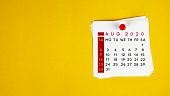 Post It August 2020 Calendar On Yellow Background