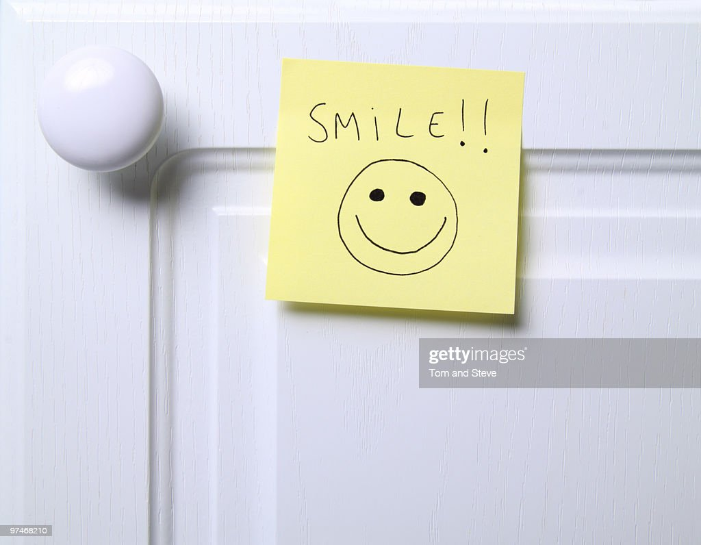 Post it note - Smile!!   : Stock Photo