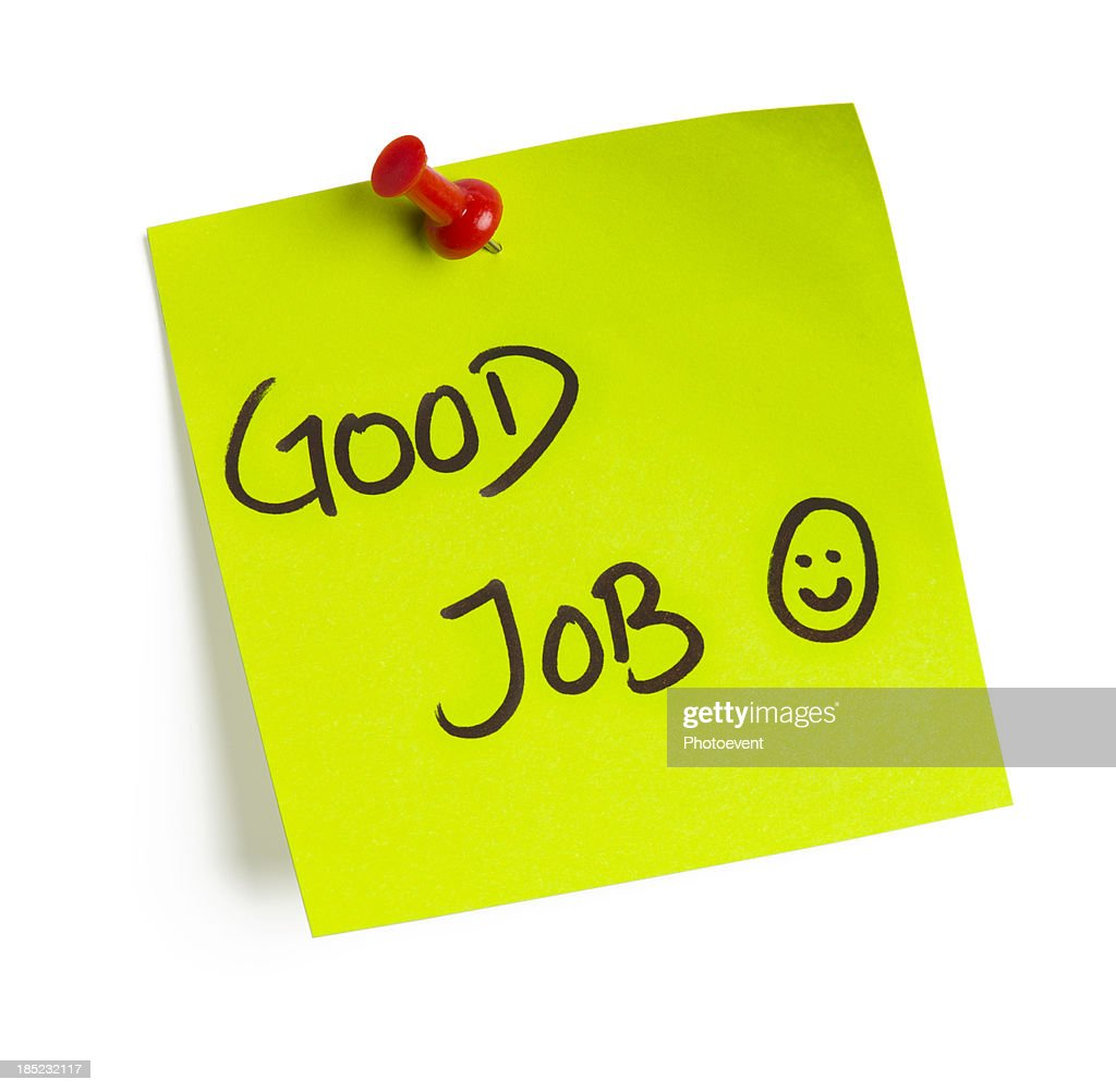 A post it note that says good job : Stock Photo