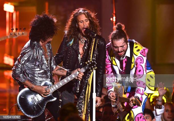 Post Malone and Aerosmith perform during the 2018 MTV Video Music Awards at Radio City Music Hall on August 20, 2018 in New York City.