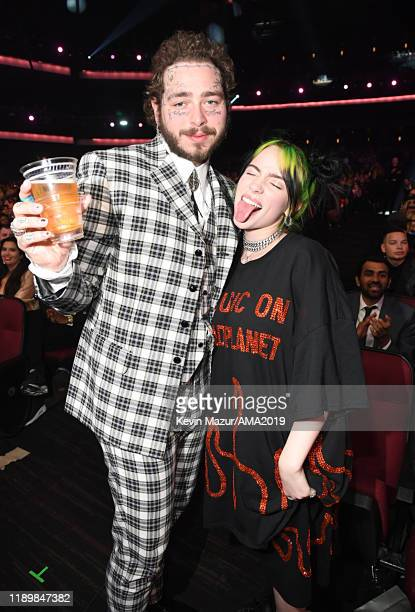 Post Malone and Billie Eilish attend the 2019 American Music Awards at Microsoft Theater on November 24 2019 in Los Angeles California