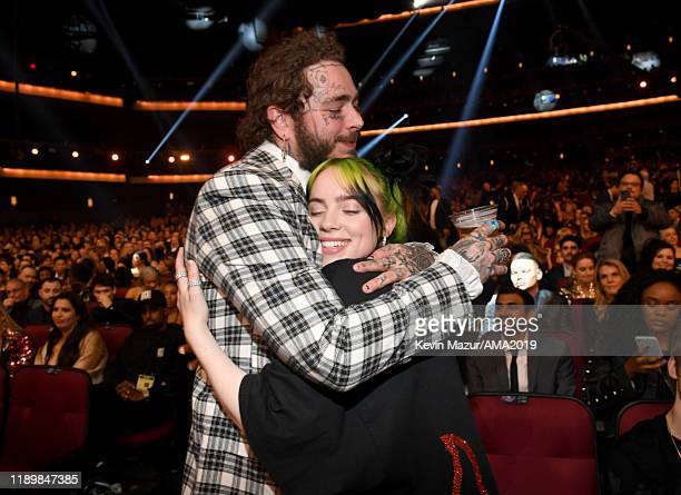 Post Malone and Billie Eilish attend the 2019 American Music Awards at Microsoft Theater on November 24, 2019 in Los Angeles, California.
