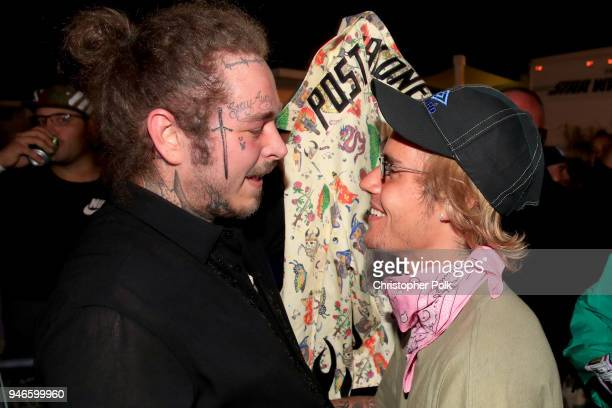 Post Malone and Justin Bieber speak backstage during 2018 Coachella Valley Music And Arts Festival Weekend 1 at the Empire Polo Field on April 14...