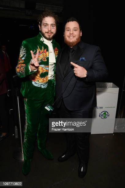 Post Malone and Luke Combs backstage during the 61st Annual GRAMMY Awards at Staples Center on February 10 2019 in Los Angeles California