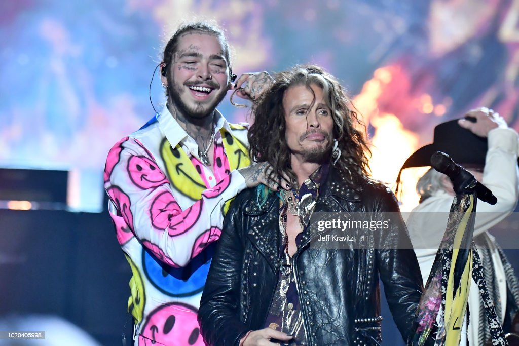 Post Malone and Steven Tyler of Aerosmith perform onstage during the 2018 MTV Video Music Awards at Radio City Music Hall on August 20, 2018 in New York City.