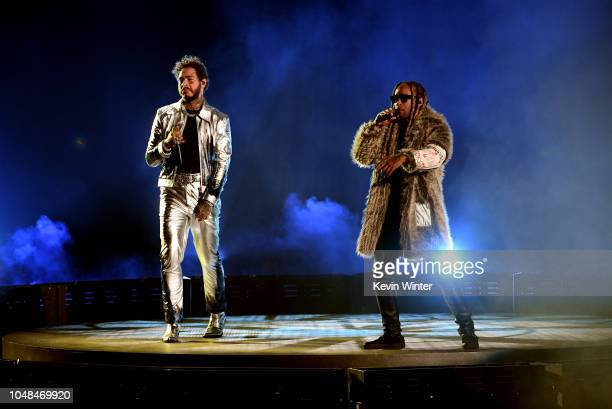 Post Malone and Ty Dolla Sign perform onstage during the 2018 American Music Awards at Microsoft Theater on October 9 2018 in Los Angeles California