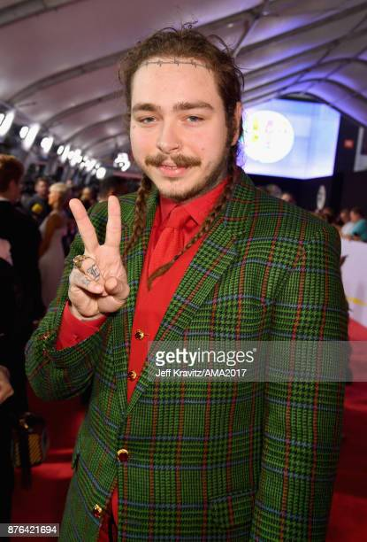Post Malone attends the 2017 American Music Awards at Microsoft Theater on November 19 2017 in Los Angeles California