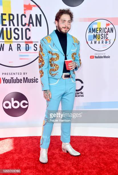 Post Malone attends the 2018 American Music Awards at Microsoft Theater on October 09 2018 in Los Angeles California