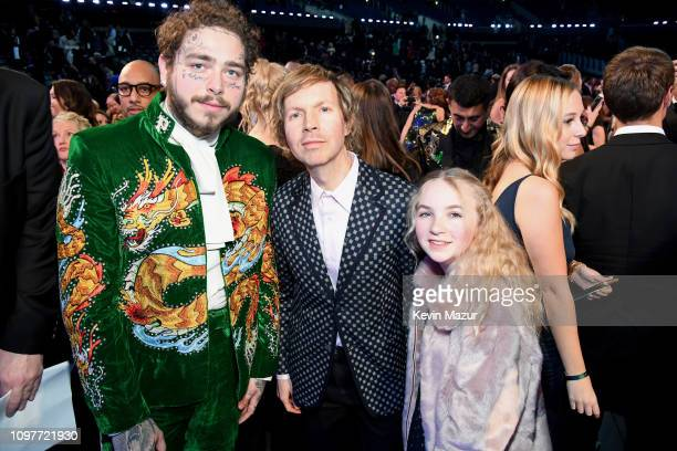 Post Malone Beck and Tuesday Hansen backstage during the 61st Annual GRAMMY Awards at Staples Center on February 10 2019 in Los Angeles California