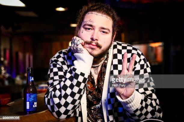 Post Malone behind the scenes before his Bud Light Dive Bar Tour show in Nashville at Footsies Dive Bar on March 20 2018 in Los Angeles California