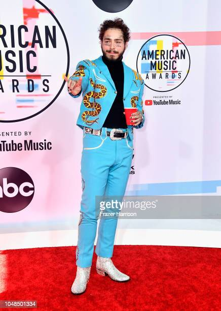 Post Malone fashion detail attends the 2018 American Music Awards at Microsoft Theater on October 9 2018 in Los Angeles California
