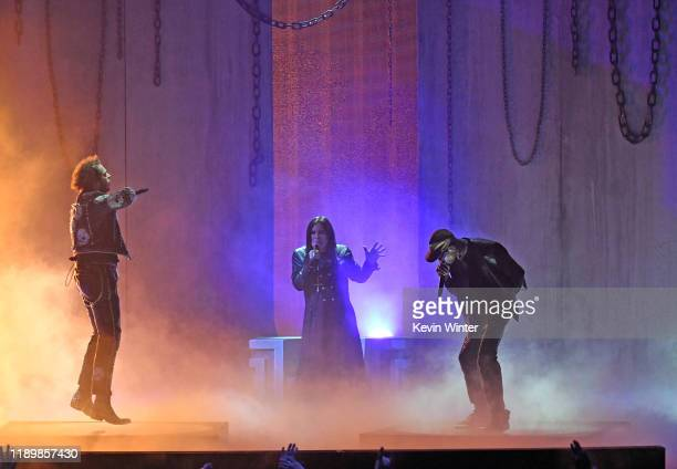Post Malone Ozzy Osbourne and Travis Scott perform onstage during the 2019 American Music Awards at Microsoft Theater on November 24 2019 in Los...
