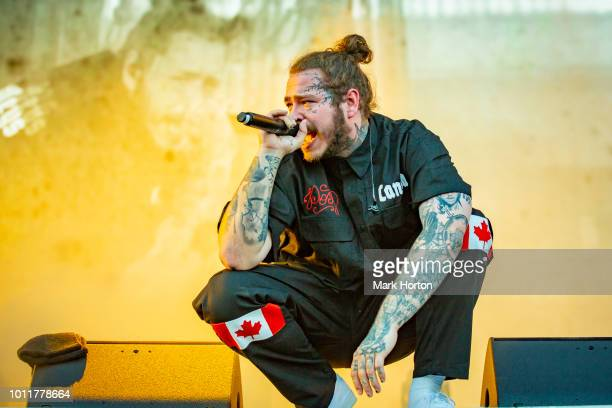Post Malone performs at the Osheaga Music and Art Festival at Parc Jean-Drapeau on August 5, 2018 in Montreal, Canada.
