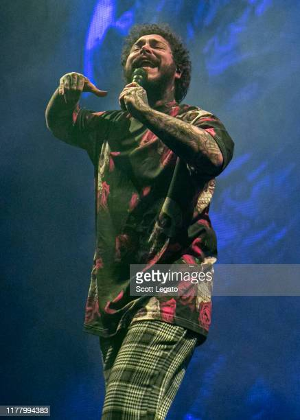 Post Malone performs during the Runaway Tour at Little Caesars Arena on September 29 2019 in Detroit Michigan