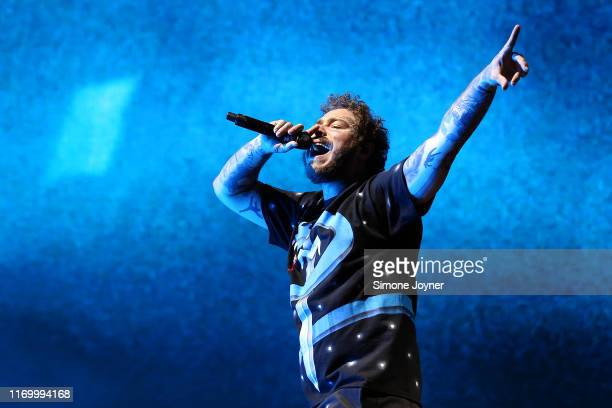 Post Malone performs live on the Main Stage during day two of Reading Festival 2019 at Richfield Avenue on August 24, 2019 in Reading, England.