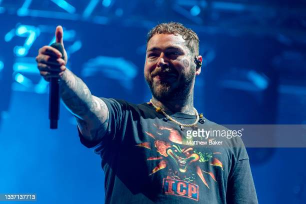 Post Malone performs on Day 3 of Leeds Festival 2021 at Bramham Park on August 29, 2021 in Leeds, England.