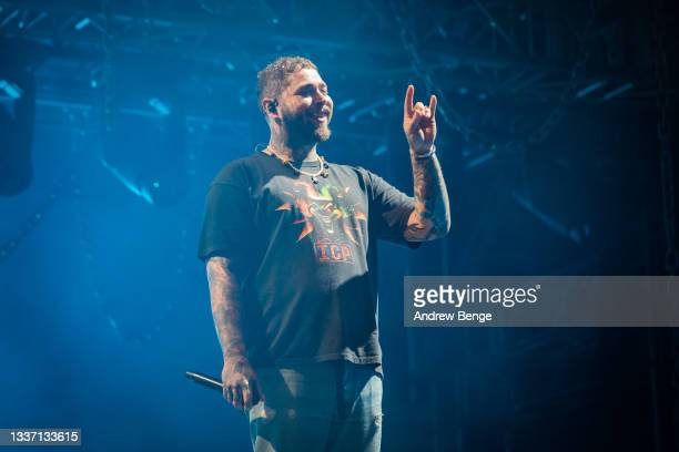 Post Malone performs on the main stage during Leeds Festival 2021 at Bramham Park on August 29, 2021 in Leeds, England.