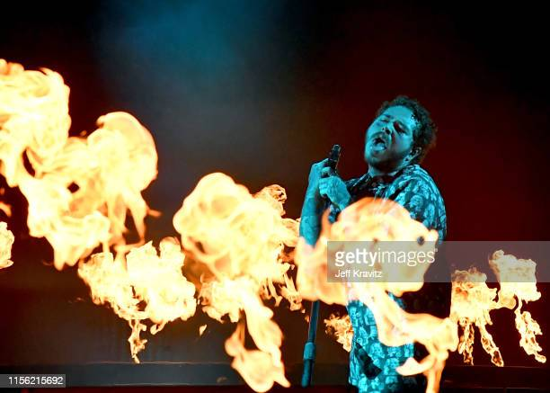 Post Malone performs on What Stage during the 2019 Bonnaroo Arts And Music Festival on June 15 2019 in Manchester Tennessee