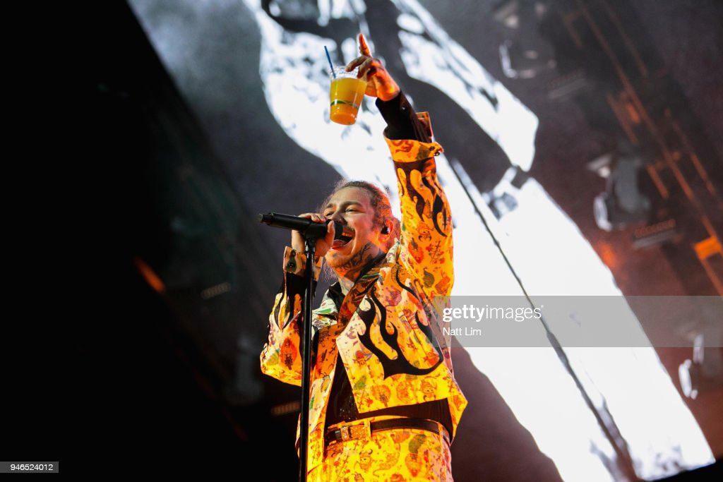 Post Malone performs onstage during 2018 Coachella Valley Music And Arts Festival Weekend 1 at the Empire Polo Field on April 14, 2018 in Indio, California.