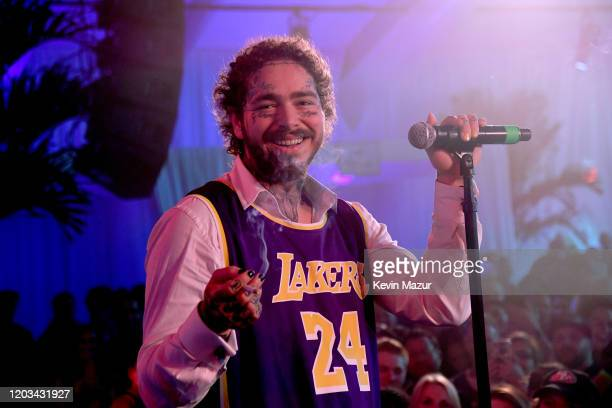 Post Malone performs onstage during Michael Rubin's Fanatics Super Bowl Party at Loews Miami Beach Hotel on February 01, 2020 in Miami Beach, Florida.
