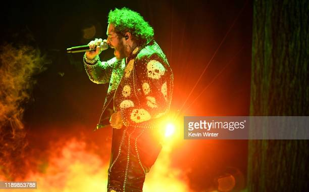 Post Malone performs onstage during the 2019 American Music Awards at Microsoft Theater on November 24 2019 in Los Angeles California