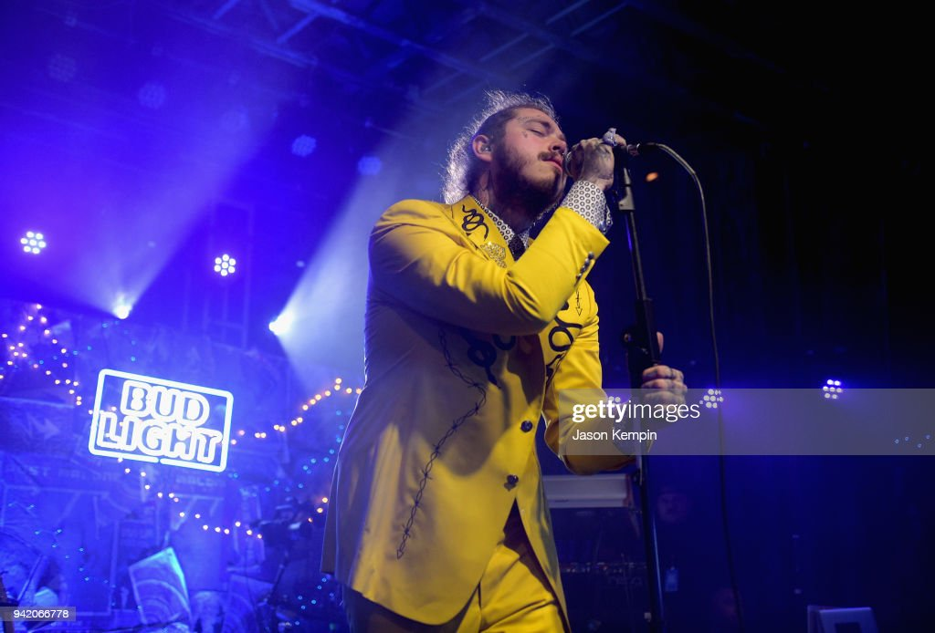 Post Malone performs onstage for Bud Light's Dive Bar Tour