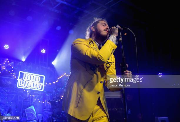 Post Malone performs onstage for Bud Light's Dive Bar Tour at the Exit/In on April 4 2018 in Nashville Tennessee