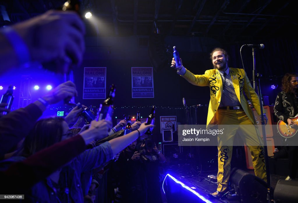 Post Malone performs onstage for Bud Light's Dive Bar Tour at the
